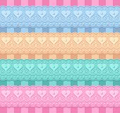 wedding vector set of ribbons with hearts