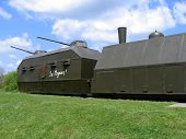 image of armored car  - world war II armored train with guns - JPG