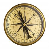 picture of nautical equipment  - simple old brass nautical compass isolated on white - JPG