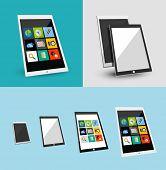 3d tablet responsive flat ui design.