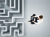 businessman and 3d abstract maze