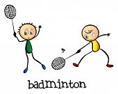 image of badminton player  - Illustration of the badminton players on a white background - JPG