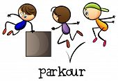 Illustration of the stickmen playing parkour on a white background