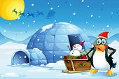 Illustration of a penguin and the sleigh with a snowman near the igloo