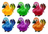 stock photo of angry bird  - Illustration of a group of angry birds on a white background - JPG