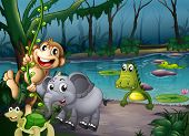 Illustration of the animals playing at the forest near the pond with crocodiles