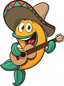 Mariachi fish singing with guitar. Vector clip art illustration with simple gradients. All in a sing