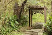 Wooden gate door in the forest at Sun Moon Lake lakeside trail, Taiwan, Asia.