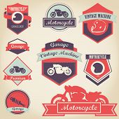 image of motorcycle  - Motorcycle shop label design set with vintage style - JPG