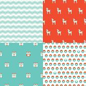 Seamless scandinavian chevron zigzag owl and deer illustration background pattern in vector