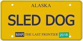 Sled Dog Alaska License Plate