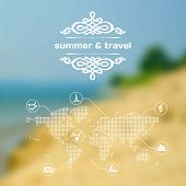 Vector Mobile And Web Interface Summer Travel Theme