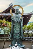Bronze Buddha Statue in front of Daiun-in Temple in Kyoto