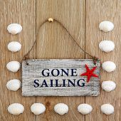 Sea shell abstract and gone sailing sign over old oak background.