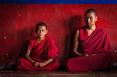 DISKIT, INDIA - SEPTEMBER 12, 2012: Unidentified adult and child Tibetan Buddhist monks in Diskit go