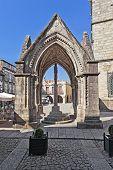 Guimaraes, Portugal - October 13, 2013: Salado Monument (Padrao do Salado), built in the 14th centur
