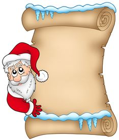 stock photo of letters to santa claus  - Winter parchment with Santa Claus 1  - JPG