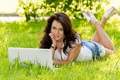 Girl Student With A Laptop In The Park