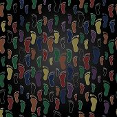 color human foot steps seamless pattern