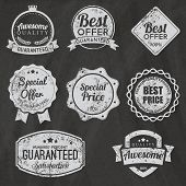 Blackboard Set of vector stickers and ribbons