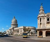 HAVANA, CUBA-MAY 14:Vintage cars near the Capitol on May 14,2013 in Havana.These old cars,the only o
