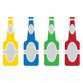Beer Bottle  Colored Set Vector.eps