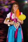 Woman In Dirndl Won Some Prizes At Oktoberfest