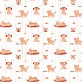Seamless pattern with funny cats in flat style