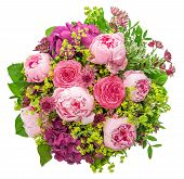 Bouquet Of Beautiful Pink Peony On White Background