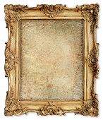 stock photo of canvas  - old golden frame with empty grunge cracked canvas for your picture photo image - JPG