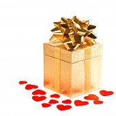 Golden Gift Box With Bow And Red Hearts Decoration
