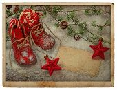 Retro Christmas Decoration With Red Baby Shoes