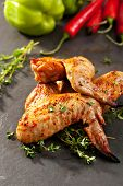 Grilled Chicken Wings with Thyme and Hot Chili Pepper