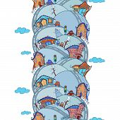 Seamless vertical pattern with cartoon houses