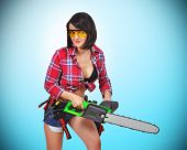Girl With Electric Saw