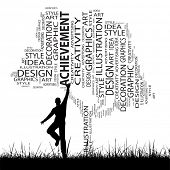 Concept or conceptual white abstract art tree and grass shape word cloud, a man jumping isolated on
