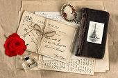 Red Rose, Old French Letters And Post Cards