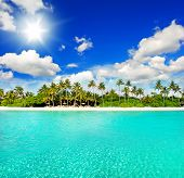 Landscape Of Tropical Island Beach With Blue Sky