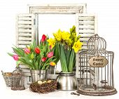 Interior Easter Decoration With Flowers And Eggs
