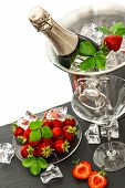 picture of sparkling wine  - bottle of champagne and two glasses over white background - JPG