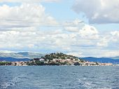 Island With Village In Adriatic Sea