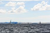Yachts Sailing In Adriatic Sea In Windy Weather