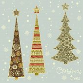 Winter Card With Stylized Christmas Trees
