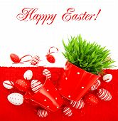 Red Easter Eggs With Green Grass Over Table Cover