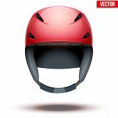 Front view of Classic red Ski helmet. Vector isolated on white background