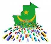 Mauritania map flag with containers illustration