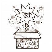 Present box with thank you sign.