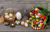 Vintage Easter Decoration With Eggs And Flowers