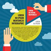 Human Hands with Pie Chart - Infographic Business Concept