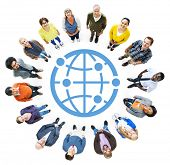 Multi-Ethnic Group of People with Globe Symbol